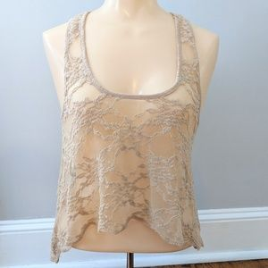 Love On a Hanger Lace Sheer Racerback Tank Top